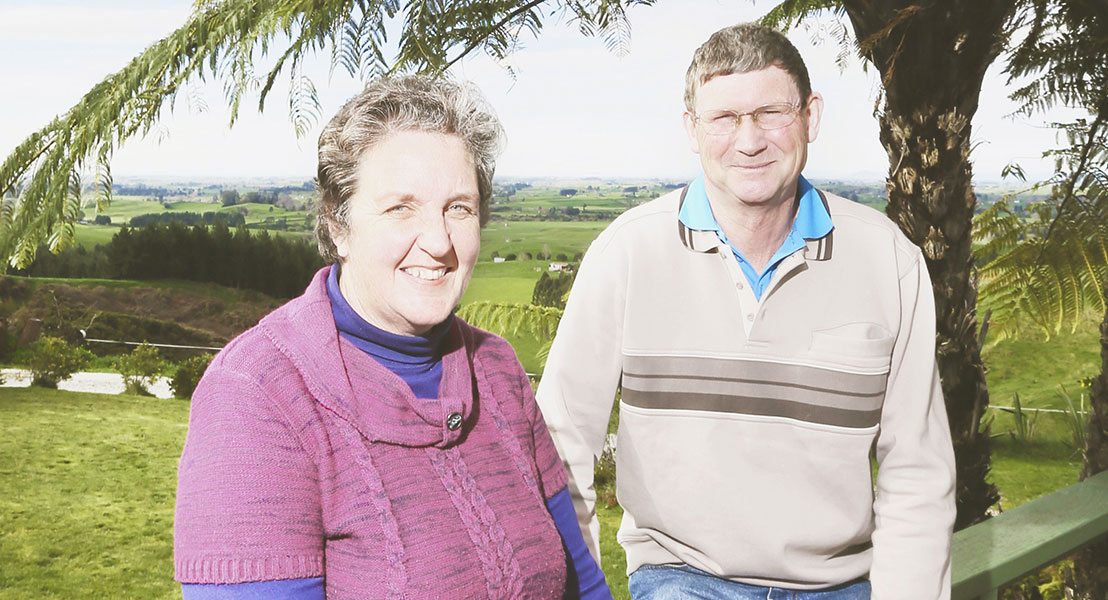 Joyce and Warwick - farmers in the Waikato.
